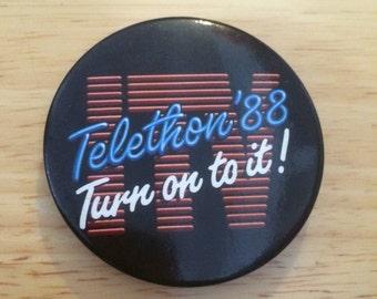 Vintage Promotional Badge ITV Telethon '88 Turn on to it! TV Television Retro Advertising Pin (21)