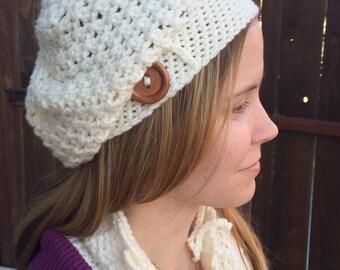 Crochet slouchy hat, crochet beanie, ladies crocheted hat, ivory hat, ivory slouchy beret, cream crochet handmade, winter wear, fall