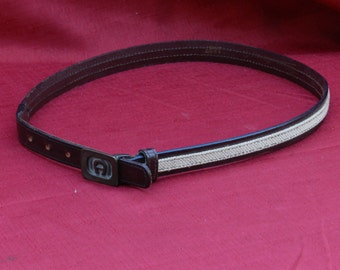 Vintage Etienne Aigner Belt Number 1127 Size 28 Brass with Red Leather and Burlap Fabric   00568