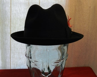 Vintage Adam of New York Black Trilby Fedora Size 6 7/8 with Feather and Signature Pearl Hat Pin       00605