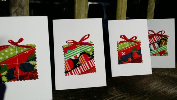 Set of 4 Handmade Present Christmas Cards/Fabric Scrap Christmas Cards/Handmade Holiday Cards/Handmade Greeting Cards/Blank Christmas Card