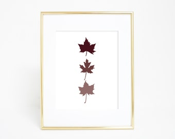 Canadian Leaf Print, Canadian Maple Leaf, Fall Prints, Maple Leaves, Maple Leaf Print, Fall Home Decor, Autumn Prints, Burgundy Print