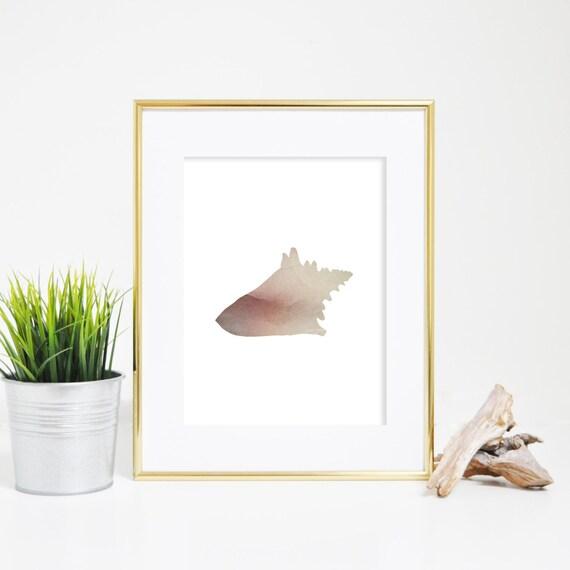 Conch Print, Seashell Print, Conch Wall Decor, Shell Poster Print, Beach Art Print, Sea Shell Wall Decor, Printable Artwork Conch Wall Art