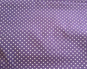 UK Seller - Purple 3mm Spot 100% Cotton Poplin  - Sewing Craft Material Bags Dressmaking Quilting