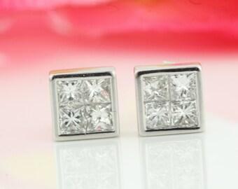 14k Illusion Princess Cut Diamond Stud Earrings, White Gold Ladies Earrings, Ladies Fine Jewelry