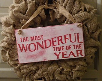 Winter And Christmas The Most Wonderful Time Of The Year Hanging Sign