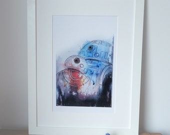 BB8 and R2D2, Star Wars abstract, geek art, print of my original watercolor painting.