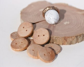 8 Round Handmade Natural Wooden Buttons for crochet cowls, scarves, knit ware and crafting projects