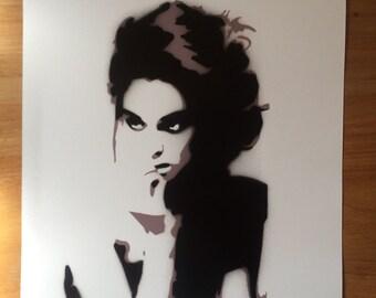 FEMME FATALE handmade stencil graffiti art print