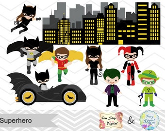 Instant Download Superhero Digital Clip Art, Superhero Clipart, Superhero Boys Clipart, Superhero Girls Clip Art, Super Hero Clilpart, 0200