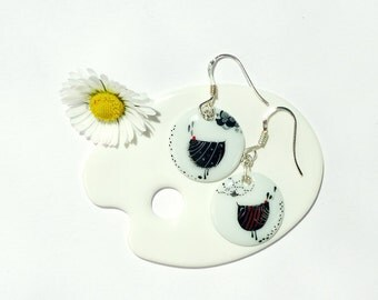 Porcelain Earrings,Porcelain Jewelry,Ceramic Jewelry,Boucles d'oreille en Porcelaine,Black Birds Decor,Dangle Earrings