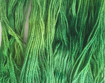Green Alpaca Yarn - Hand Painted - Sport Weight - Free Shipping!