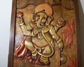 Ganesha .Carved wood panel