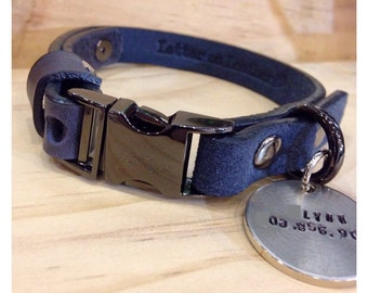 """Navy leather collar with custom ID tag  (""""Collar-Me-Navy"""")"""