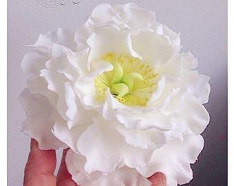 White Peony sugar flower