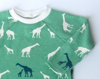 2T Childrens handmade long sleeve shirt - Giraffe print in sea foam and teal - girl or boy -  organic cotton