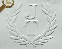 Olive Branch Wreath - Customized Wedding Embosser Stamp Template by Get Marked (ES0001)