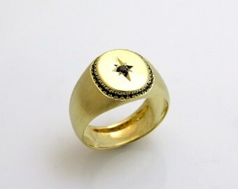 Signet gold ring, Signet ring men, 14k gold ring men, Black diamond ring, Black diamond ring gold, Engraved ring gold, Engraved ring men