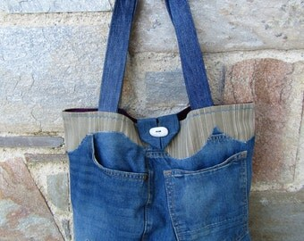 Unique, upcycled jean tote bag