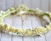 Champagne flower crown, Flower Headband, Floral Wreath, Wedding, Bridal crown, Festival Crown, Ivory floral crown, Rose Crown
