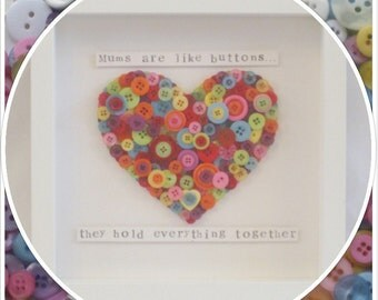 Handmade 'Mums are like buttons, they hold everything together' Mother's Day Heart Button Frame