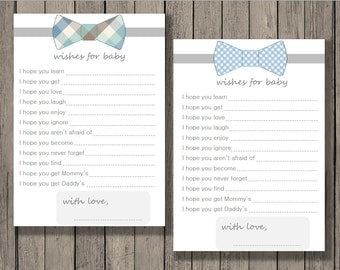 Wishes for baby printable, baby shower printable, baby boy printable, bowtie design.