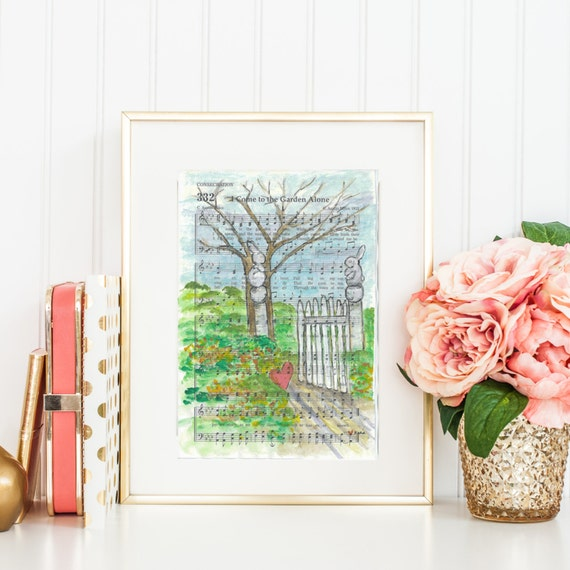 I Come To The Garden Alone Hymn Watercolor Painting