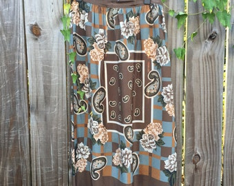 Vintage Silk Paisley & Floral Maxi Skirt
