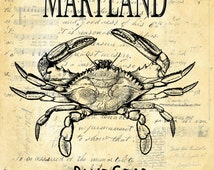 Maryland Blue Crab vintage image choice replica antique paper ledger, journal, music, almanac beautiful custom wall art decor MBC392