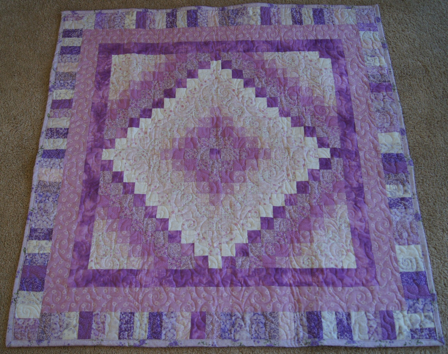 Trip Around the World Design LAP or BABY QUILT Pink and