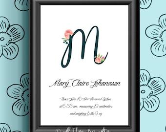 Nursery MONOGRAM Print | Personalized Baby Print | Flower Nursery Art | Wall Art |  Baby Shower Gift | Letter M