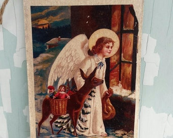 Vintage Christmas plaque
