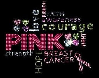 Breast Cancer Pink Ribbon Rhinestone T-Shirt or Tank Top