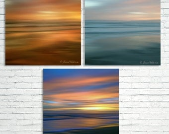 Print Set of 3 Ocean Sunset, Abstract Print Set, Beach set of 3, Set of 3,  Sunset Print, Ocean Decor, Wall Art, Set Of 3 Prints, Beach Art