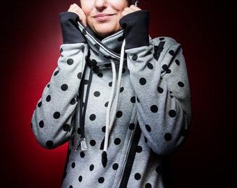 sweat home blanket with large black polka dot grey cowl