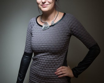 dress long sleeve quilted and leather-like
