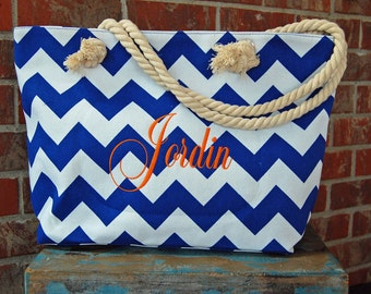 Monogrammed Beach Bag-Royal Blue Beach Tote-Monogrammed Tote-Monogrammed Bag-Chevron Bag-Monogrammed Gift-Chevron Tote-Monogrammed Tote Bag