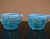 Vintage Fenton blue opalescent hobnail cream and sugar set