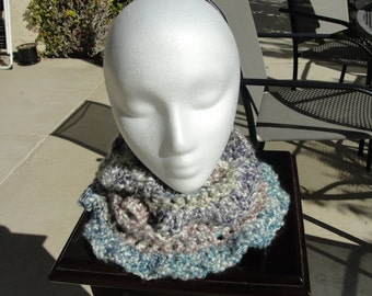 Sale-Warm and Soft mulicolored ruffly cowl for women.