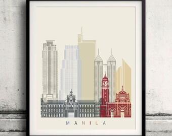 Manila skyline poster - Fine Art Print Landmarks skyline Poster Gift Illustration Artistic Colorful Landmarks - SKU 2101