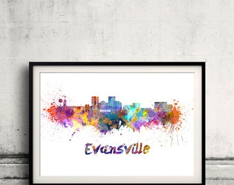 Evansville skyline in watercolor over white background with name of city - Poster Wall art Illustration Print - SKU 1513