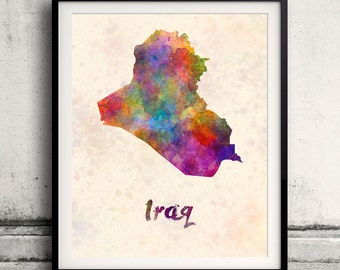 Iraq - Map in watercolor - Fine Art Print Glicee Poster Decor Home Gift Illustration Wall Art Countries Colorful - SKU 1798