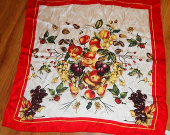 "Vntg classic Nicloe De Beauvier 32"" x 32"" silk multicolor Scarlet edged scarf,pony tie,headband, no label, marked  on scarf, vivid colors,"