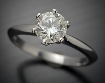 14kt white gold Diamond Engagement ring 6 prong Solitaire with a .98 carat Round brilliant K-VS