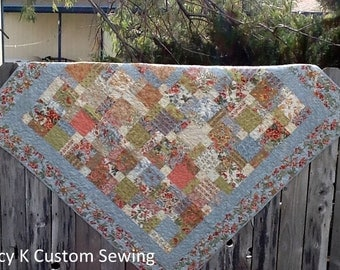 Blue Tossed 9 Patch Quilt