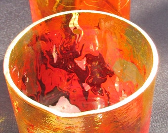 Orange and Red Marble glasses (pair)