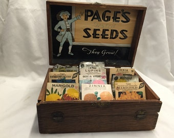 "Antique, Oak,  ""Page's"" Seed Box"