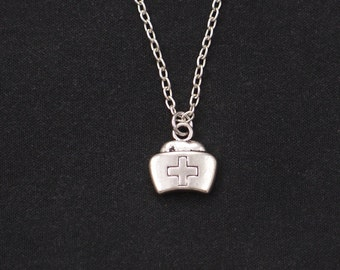 nurse cap necklace, sterling silver filled, graduation gift, silver nurse charm, nurse jewelry, gift for medical student, birthday gift