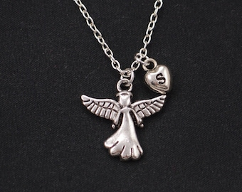 initial necklace, angel necklace, long necklace option, silver guardian angel charm, angel wings jewelry, little girl gift, communion gift