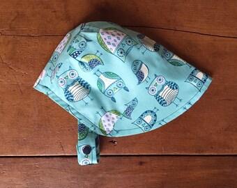 Owls Sun Bonnet, Baby Bonnet, Baby Sun Hat, Baby Sun Bonnet, Reversible Bonnet, Modern Bonnet, For Baby and Toddler